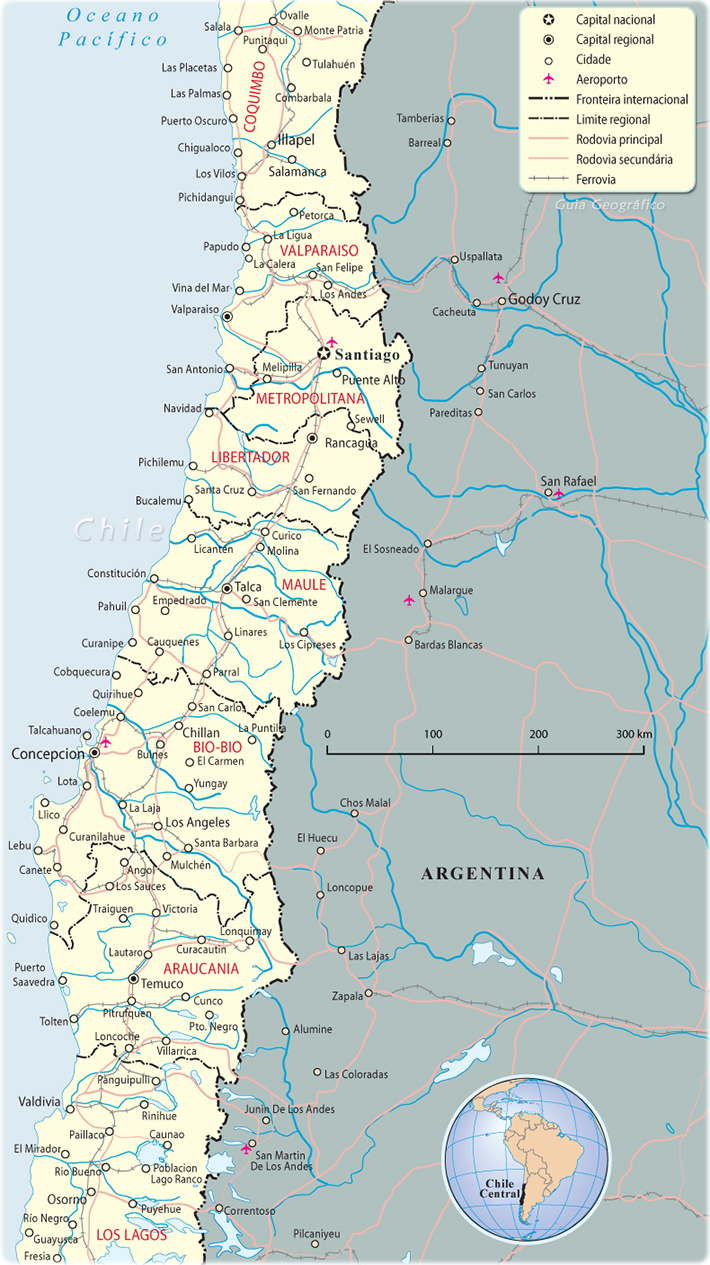 Chile mapa cidades for Mapa de santiago de chile