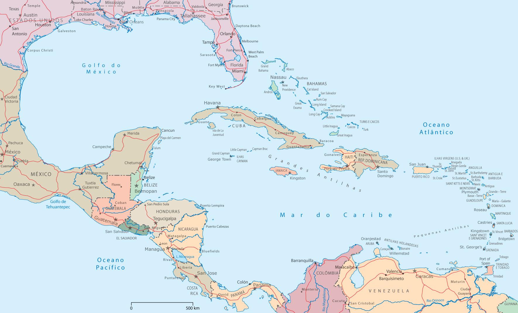 Mapa Político da América Central e Caribe