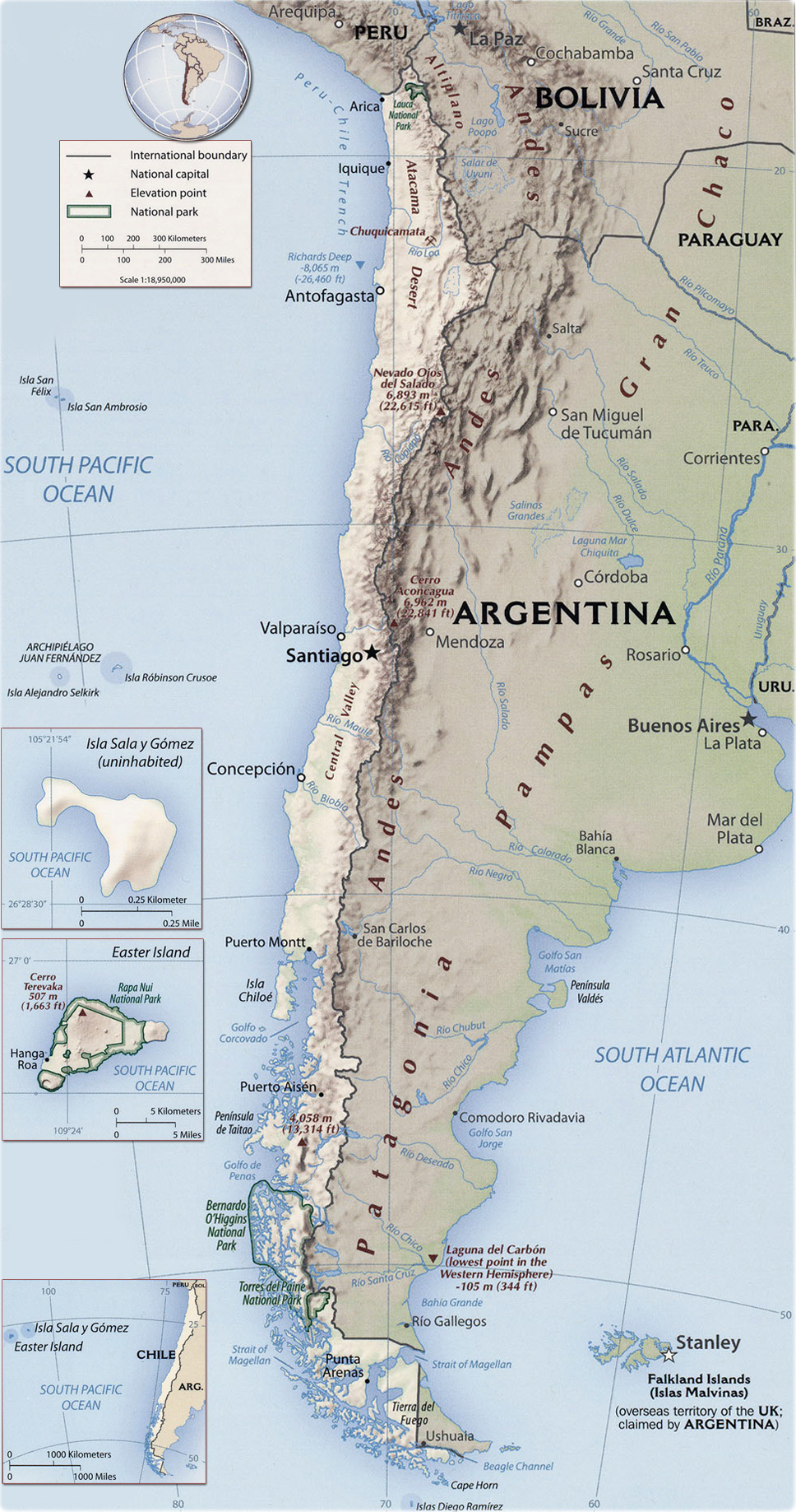 Mapa do chile santiago valparaiso e andes for Calles de santiago de chile