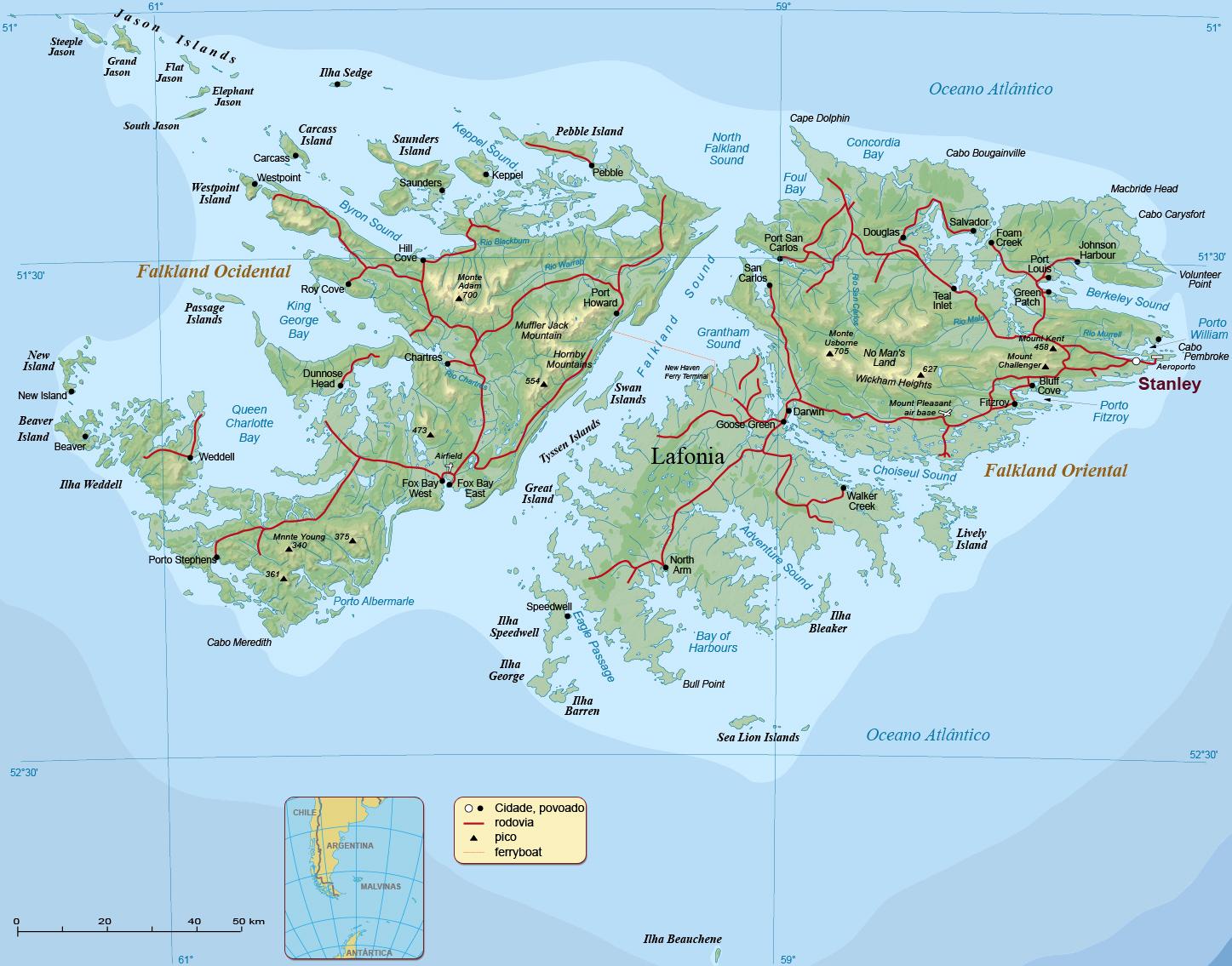 Mapa Ilhas Malvinas Falkland