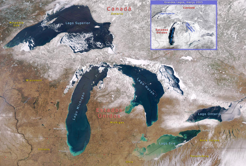 Imagem dos Grandes Lagos na América do Norte