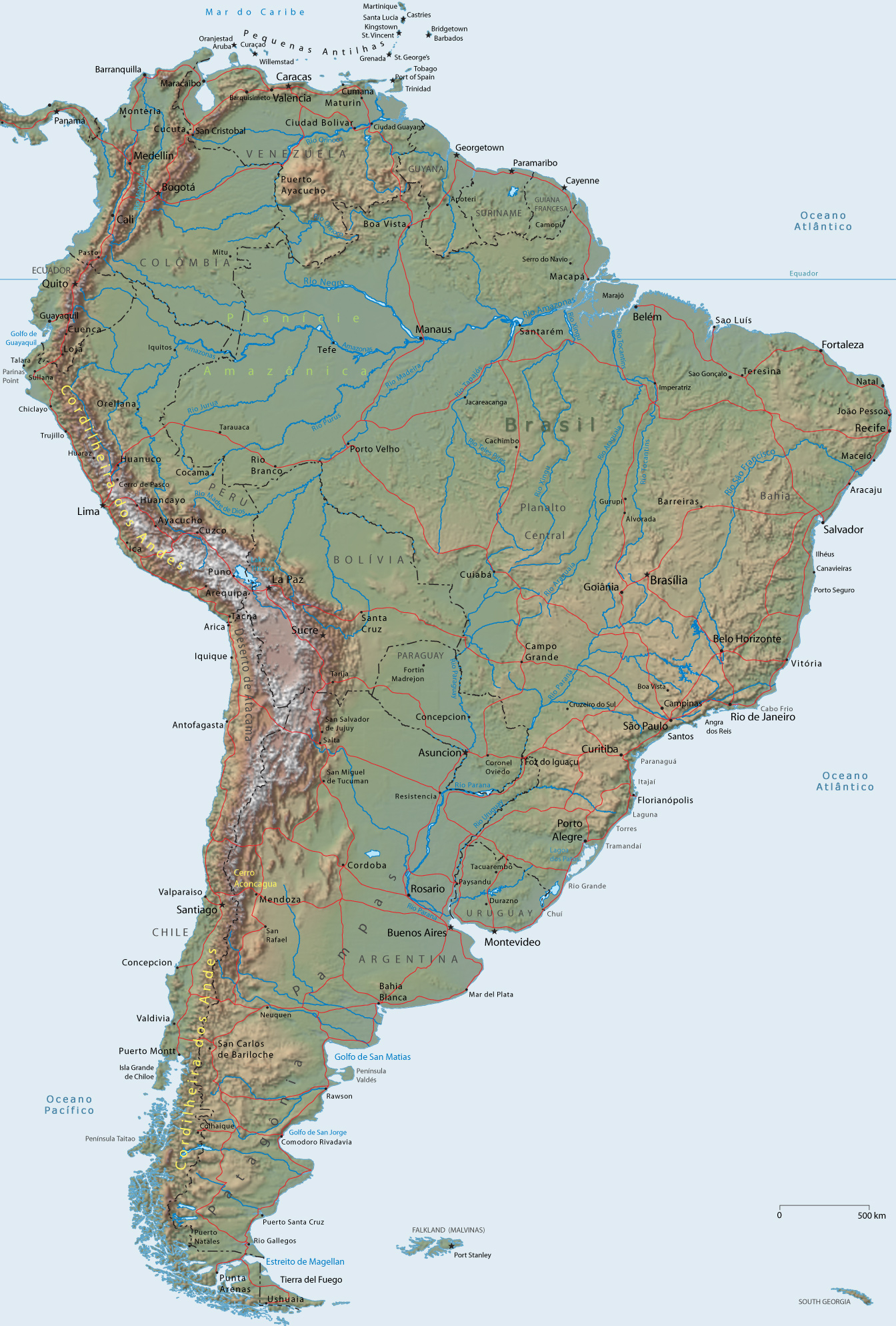 Latin America Map Physical Features