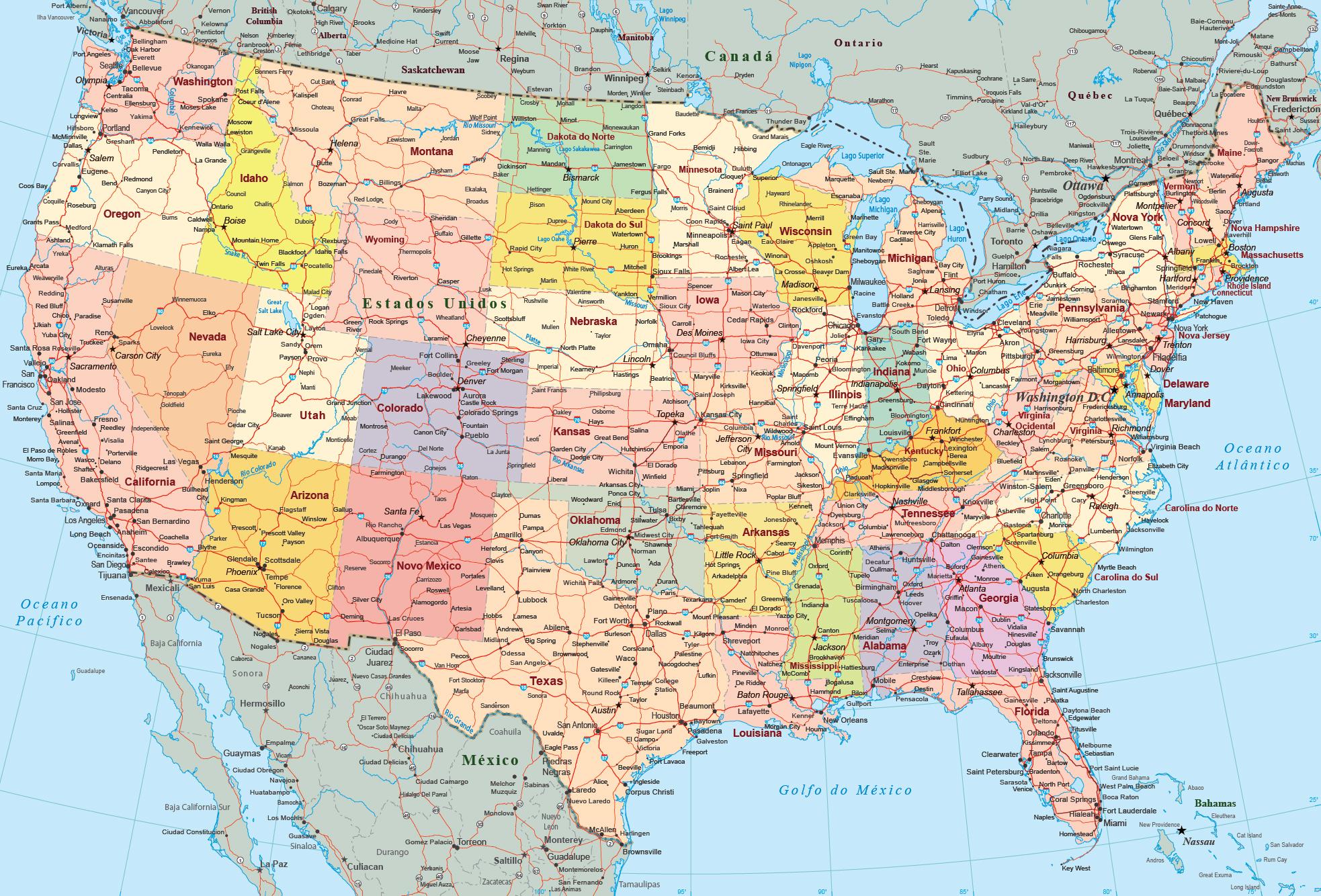 Mapa Politico Estados Unidos.Mapa Estados Unidos Eua