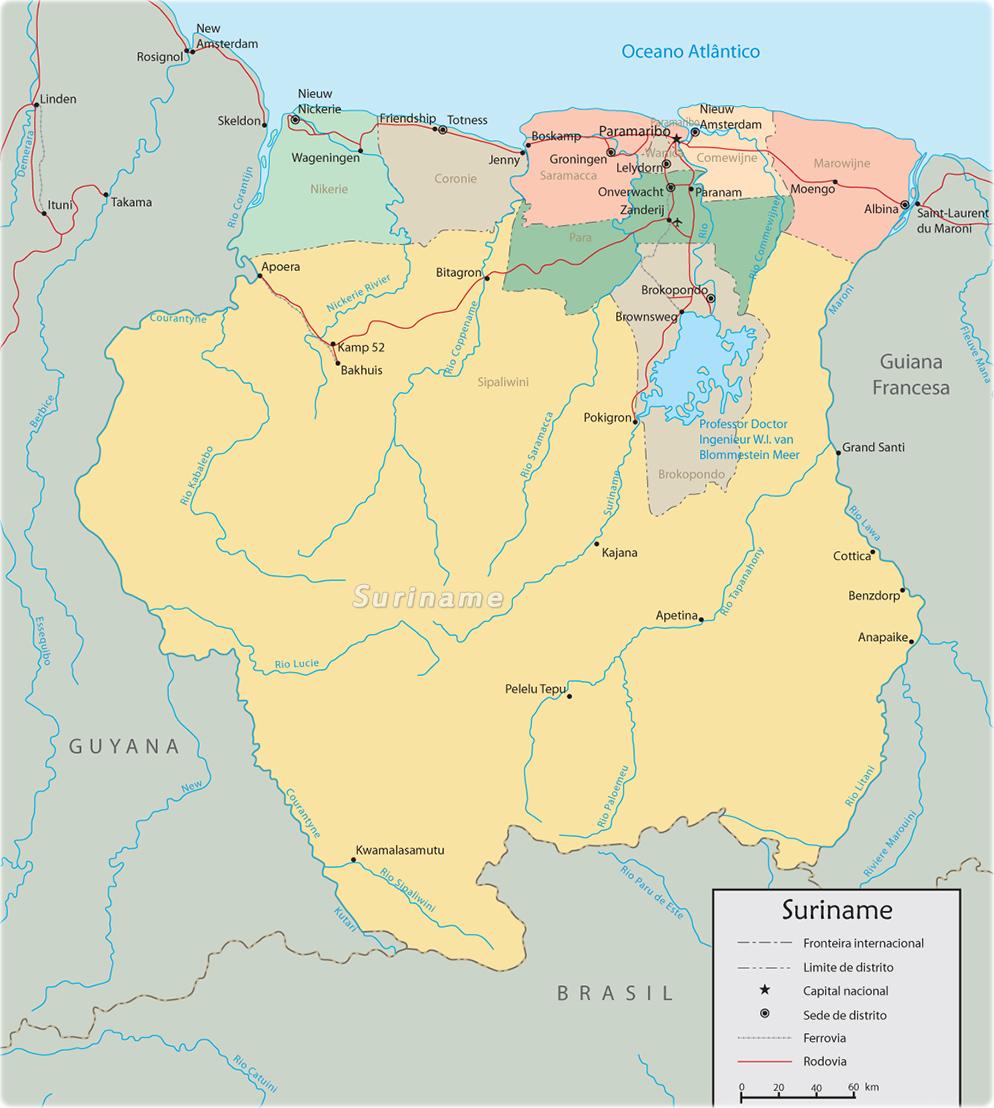 Mapa Do Suriname Capital Paramaribo